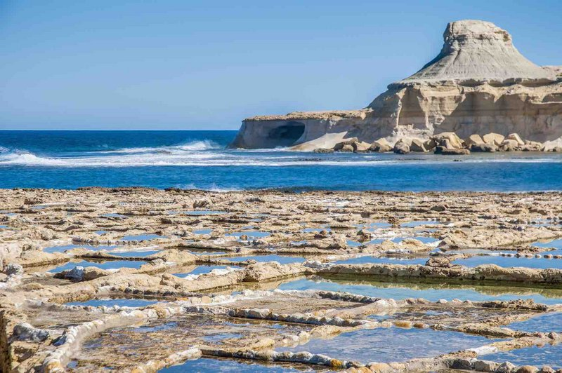 Salt evaporation ponds, also called salterns or salt pans located near Qbajjar on the maltese Island of Gozo.